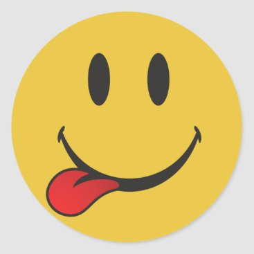 Funny and Cute Sticking out tongue Emoji Classic Round Sticker