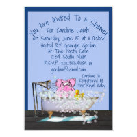 Funny Baby Shower Invitation W/Pig Showering