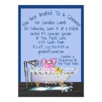 Funny Baby Shower Invitation W/Pig Showering