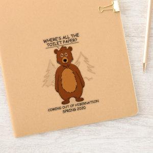 Funny Bear out of Hibernation Cartoon Contour Cut Sticker
