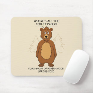Funny Bear out of Hibernation Cartoon Mouse Pad