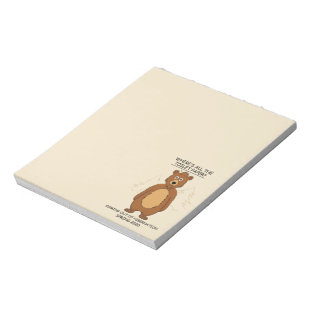 Funny Bear out of Hibernation Cartoon Notepad
