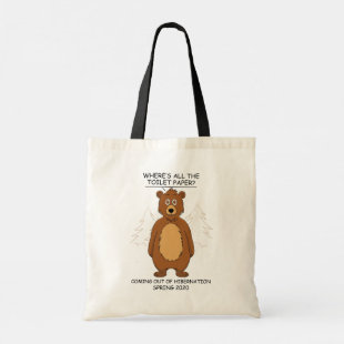 Funny Bear out of Hibernation Cartoon Tote Bag