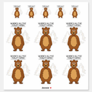 Funny Bear out of Toilet paper Contour Cut Sticker