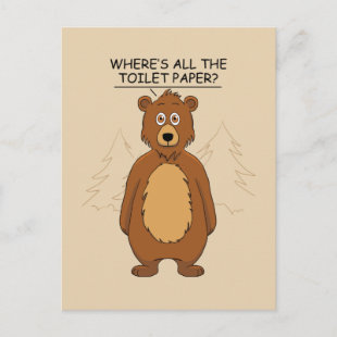 Funny Bear out of Toilet Paper Holiday Postcard