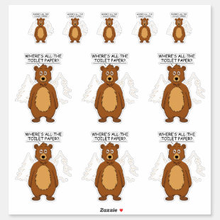 Funny Bear out of Toilet paper Sticker