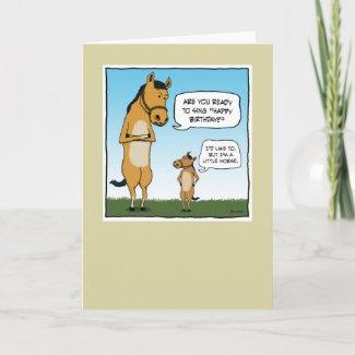 Funny birthday card: Little Horse card