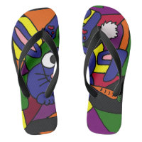Funny Blue Bunny Rabbit Abstract Flip Flops