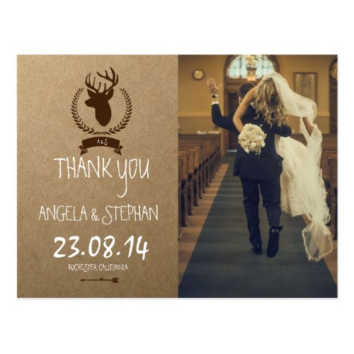 funny bride kidnapping/deer theme postcard