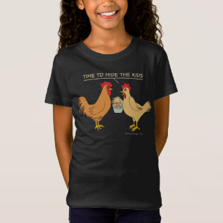 Funny Brown Chicken Easter Egg Hunt Cartoon T-Shirt