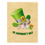 Funny Bulldog St. Patrick's Day Postcards