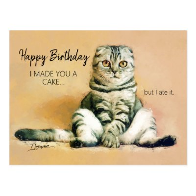 Funny Cat Birthday Cards Postcards And Greeting Cards