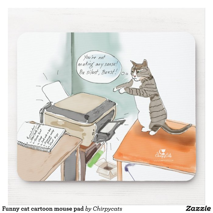 Funny cat cartoon mouse pad