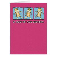 Funny Cat Dancing Birthday Card