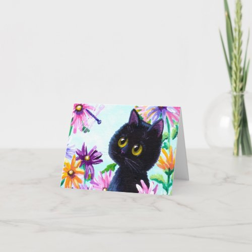 Funny Cat Dragonfly Daisies Creationarts Card