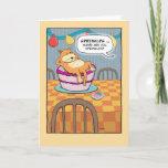 Funny Cat on Birthday Cake Card