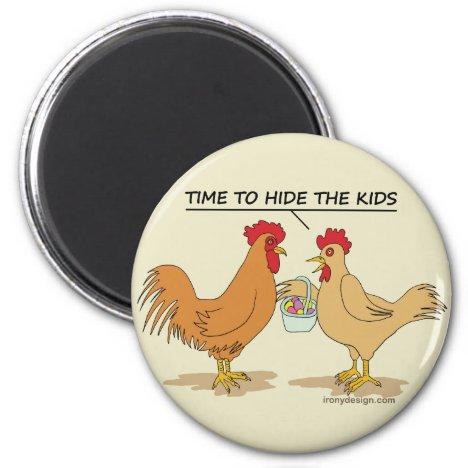 Funny Chicken Easter Egg Hunt Cartoon Beige Magnet