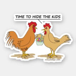 Funny Chicken Easter Egg Hunt Cartoon Contour Cut Sticker