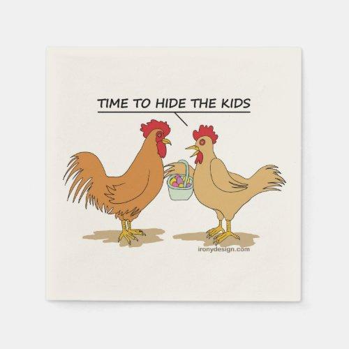 Funny Chicken Easter Egg Hunt Cartoon Napkins