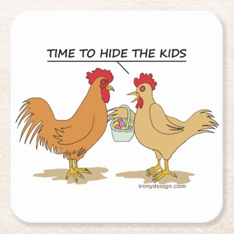 Funny Chicken Easter Egg Hunt Cartoon Square Paper Coaster