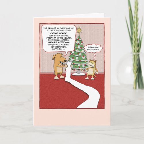 Funny Christmas card: Dog's Wish List card
