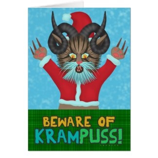 Funny Christmas Krampuss Cat Pun Holiday Humor Card