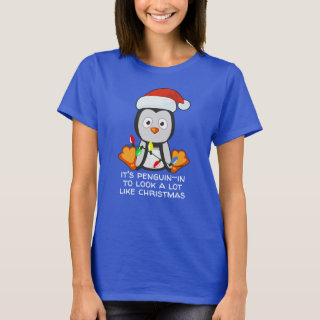 Funny Christmas Song Pun Penguin Dark T-Shirt
