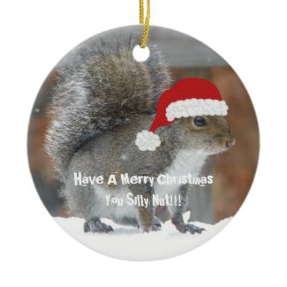 Funny Christmas Squirrel Ornament