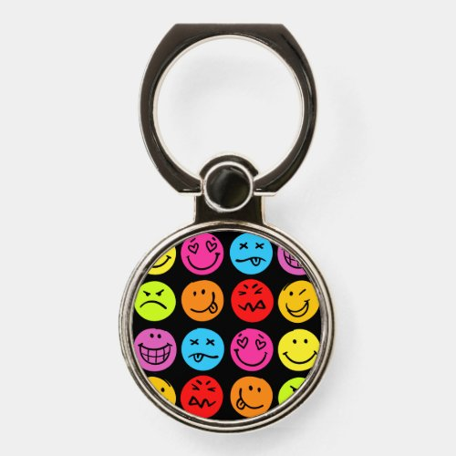 Funny Colorful Faces Phone Ring Stand