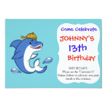 Funny dolphin with yellow hat invitation