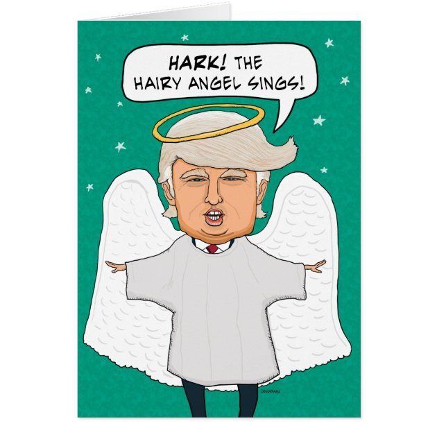 Funny Donald Trump Lookalike Hairy Angel Christmas Card