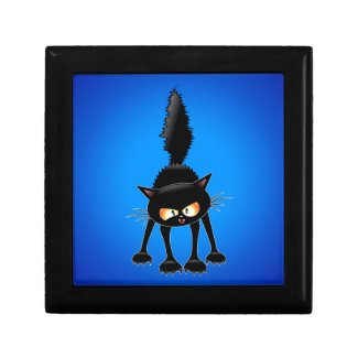 Funny Fierce Black Cat Cartoon Trinket Boxes