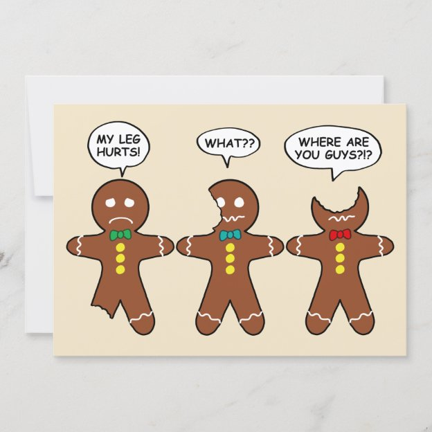 Funny Gingerbread Everything is Fine Holiday Card