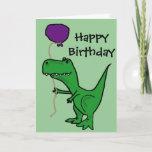 Fun Green Trex Dinosaur Holding Purple Balloon Birthday Card