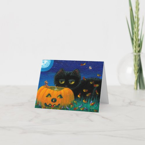 Funny Halloween Fall Cat Mouse Art Creationarts Card