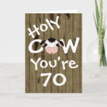 Fun Holy Cow You're 70 Happy Birthday Card (Available from 30 to 70 yrs)