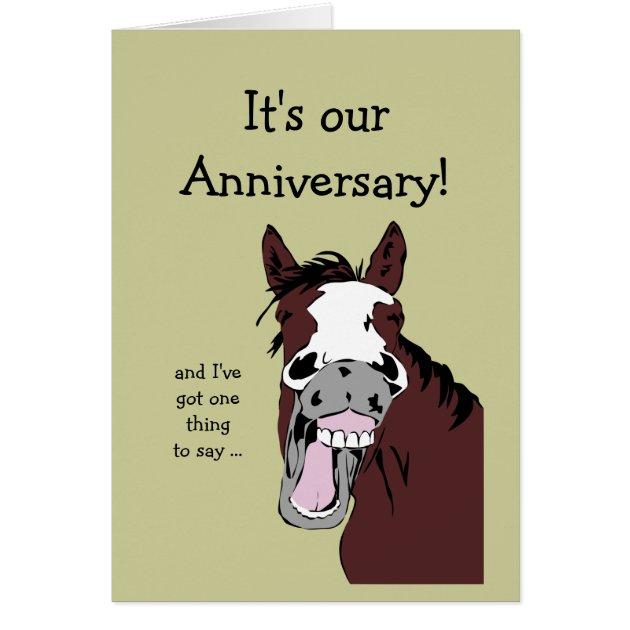 Funny Horse Anniversary Cartoon Spouse Or Partner Card