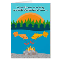 Funny Kids at Summer Camp Fish Roasting Weenies Card