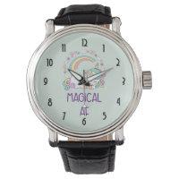 Funny - Magical AF. Unicorn,Rainbow & Cutesy Stuff Wrist Watch