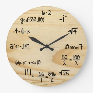 "Funny Math Geek - ""wood grain"" Large Clock"