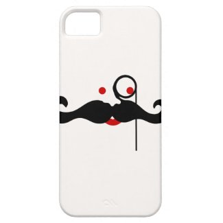 Funny mustache with monocle iPhone 5 Covers