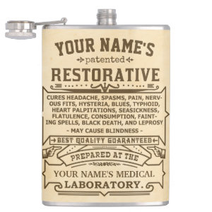 Funny Novelty Personalized Cure-All Vintage Hip Flasks