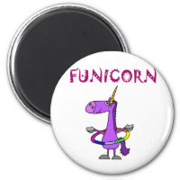 Funny Purple Unicorn with Hula Hoop Magnet