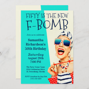 funny 50th birthday invitations zazzle