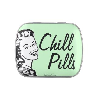 Funny Retro Woman Mint Chill Pills Candy Tins