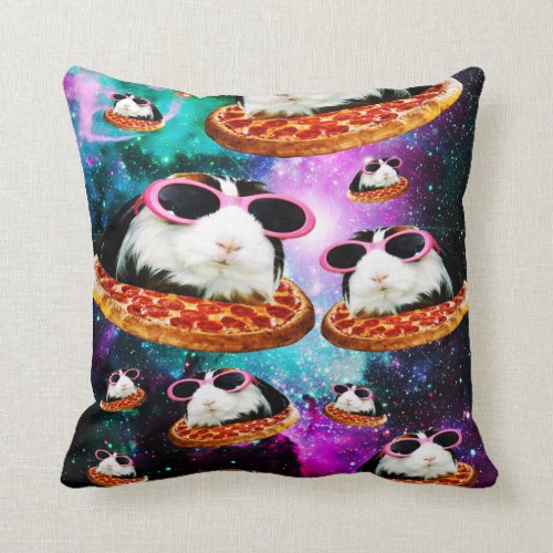 Funny space guinea pig throw pillow