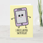 Funny Swipe Right Kawaii Phone Valentines Day Holiday Card