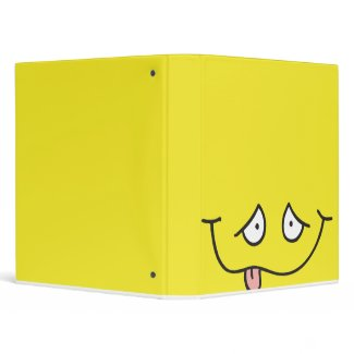 funny tongue out face yellow notebook binder