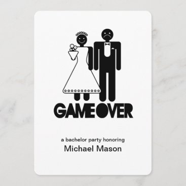 Game Over - Last day as a free man Bachleor Party Invitation
