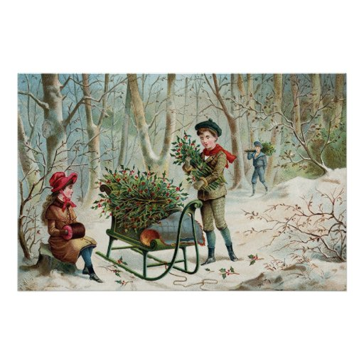 Gathering Christmas Holly C1890 Poster